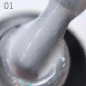 База каучуковая  GRATTOL RUBBER BASE GLITTER  №1  цвет белый с серебристо-зелеными и золотистыми микроблестками